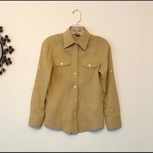 Theory Safari Linen Button Down